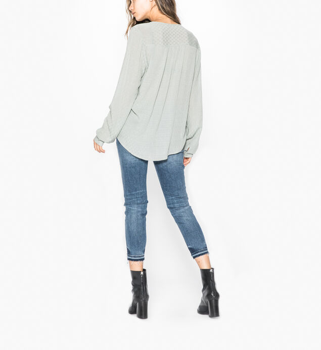 Serlina - Laced-up Twist Front Peasant Top, Sage, hi-res