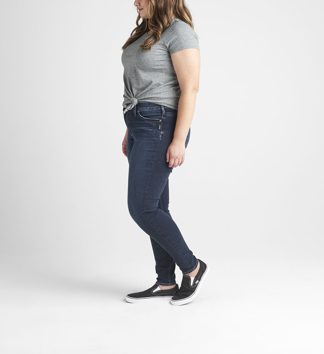 Suki Mid Rise Skinny Jeans Plus Size Side
