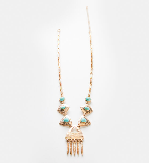 Gold-Tone Hammered Turquoise Necklace, , hi-res