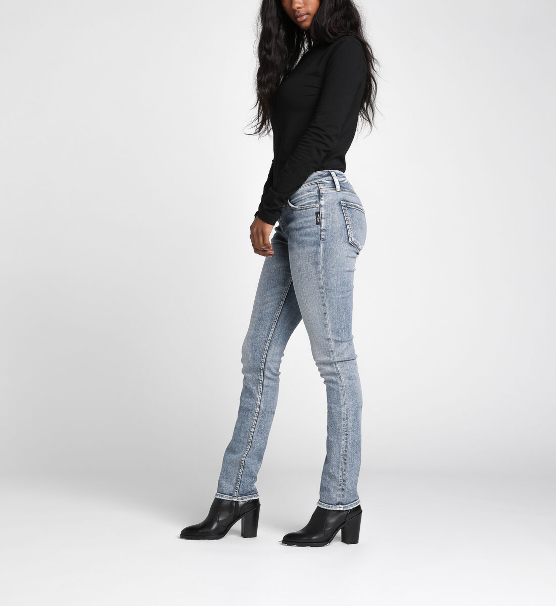 Suki Mid Rise Straight Leg Jeans Side