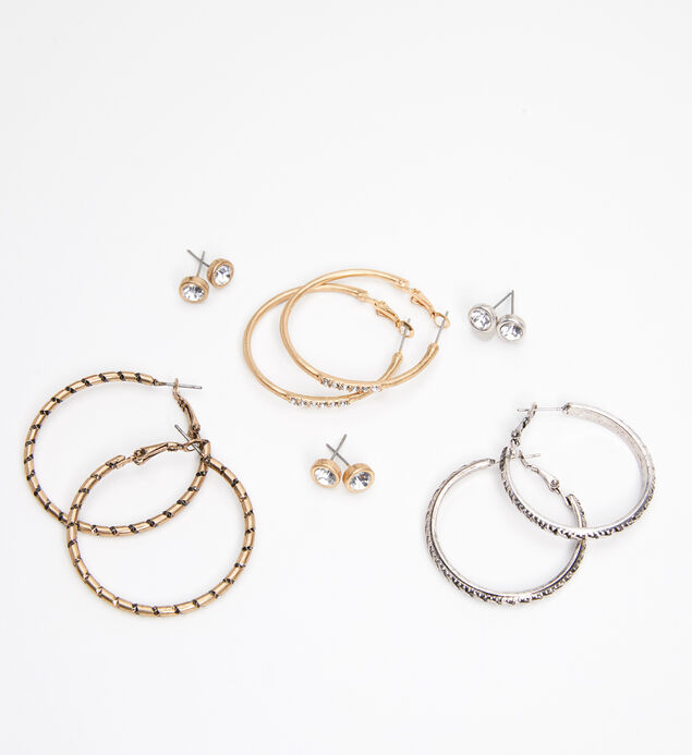 Mixed-Metal Stud and Hoop Earring Set, , hi-res
