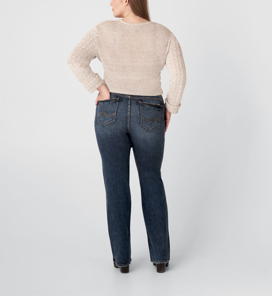 Elyse Mid Rise Slim Bootcut Jeans Plus Size Back