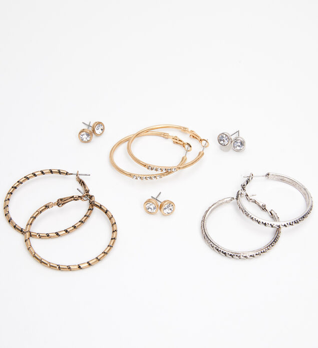 Mixed-Metal Stud and Hoop Earring Set