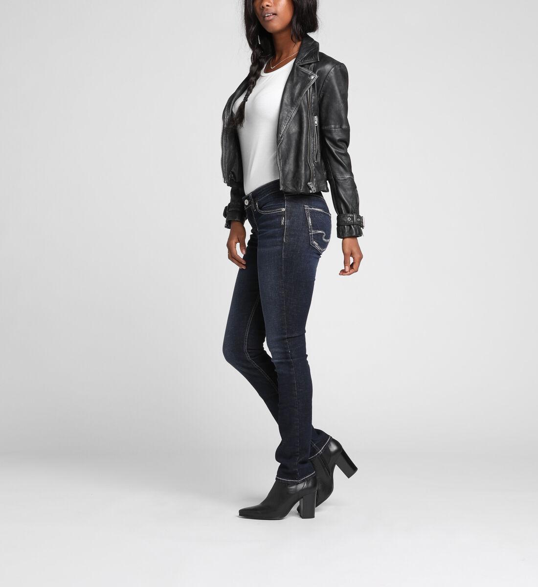 Elyse Mid Rise Straight Leg Jeans Side