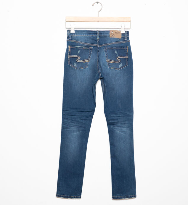 Cairo City Distressed Skinny Jeans in Dark Wash (7-16), , hi-res