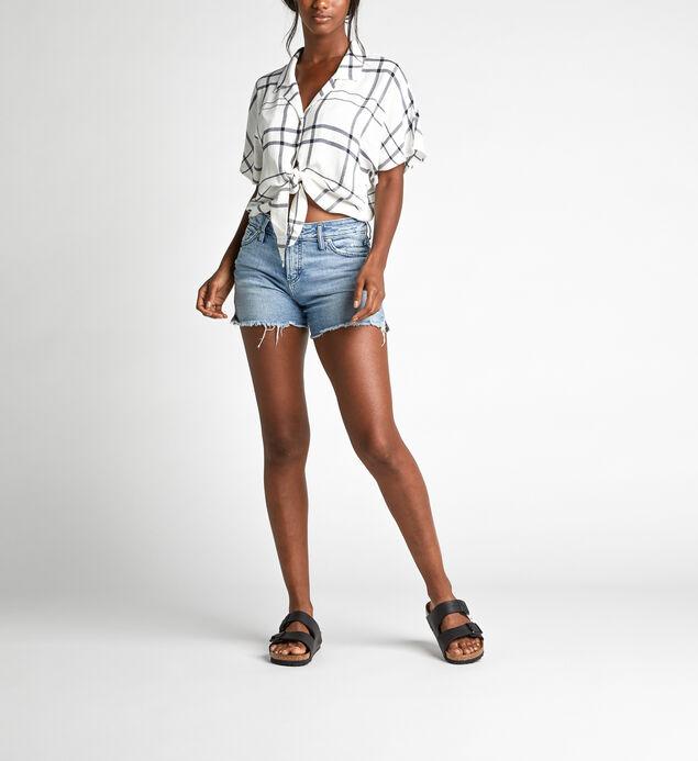 Sunny Cropped Dolman Tie-Waist Plaid Shirt, , hi-res