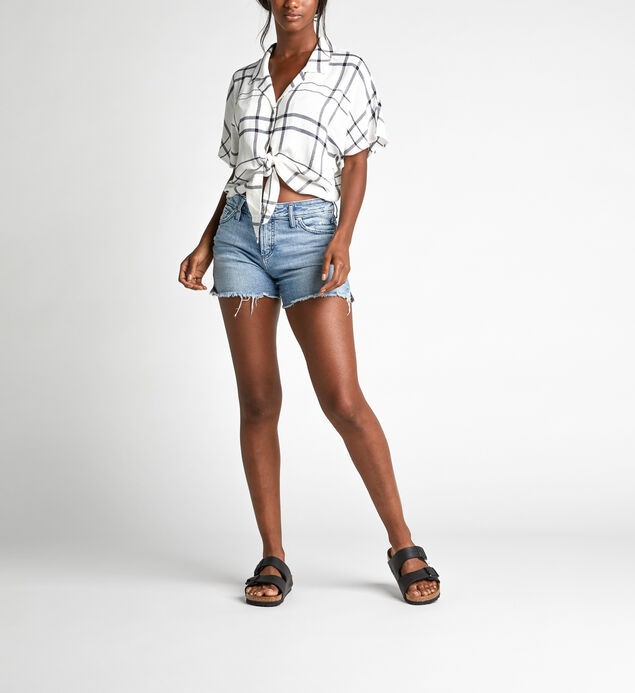 Sunny Cropped Dolman Tie-Waist Plaid Shirt, , hi-res