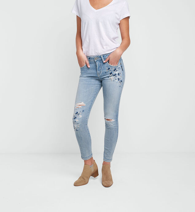 Izzy Embroidered Ankle Skinny Light Wash