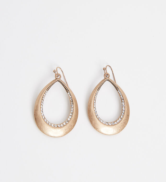 Silver-Tone Teardrop Statement Earrings, Gold, hi-res