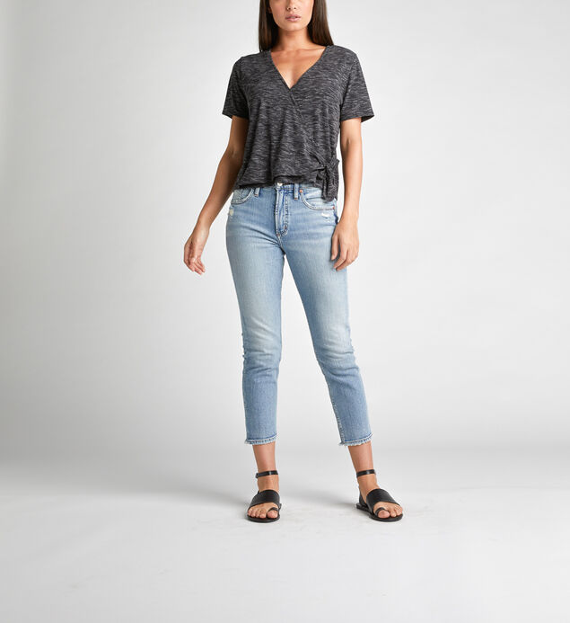 Adrea Side-Tie Space-Dyed Wrap Tee, Black, hi-res