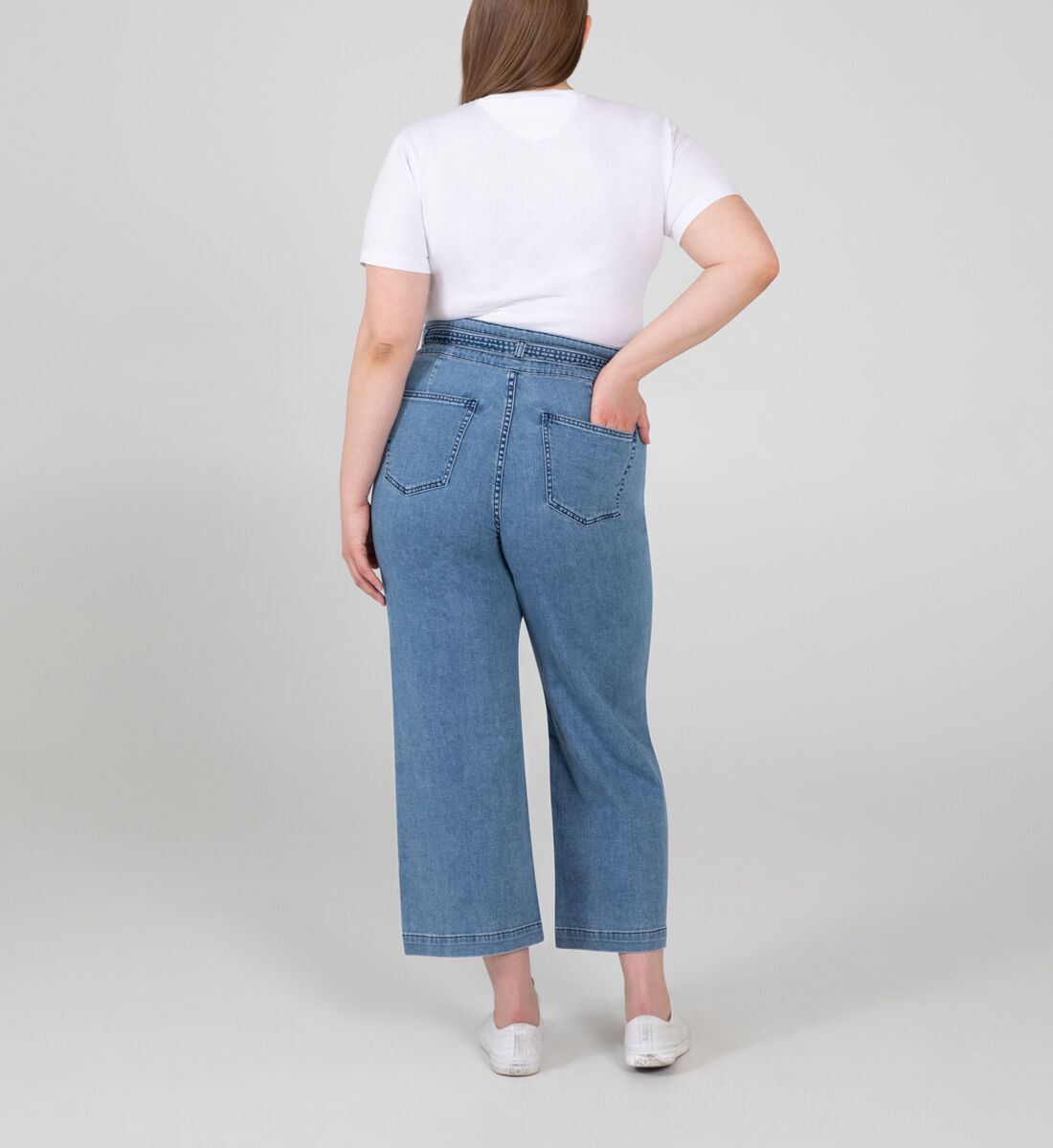 Belted High Rise Wide Leg Crop Jeans Plus Size Back