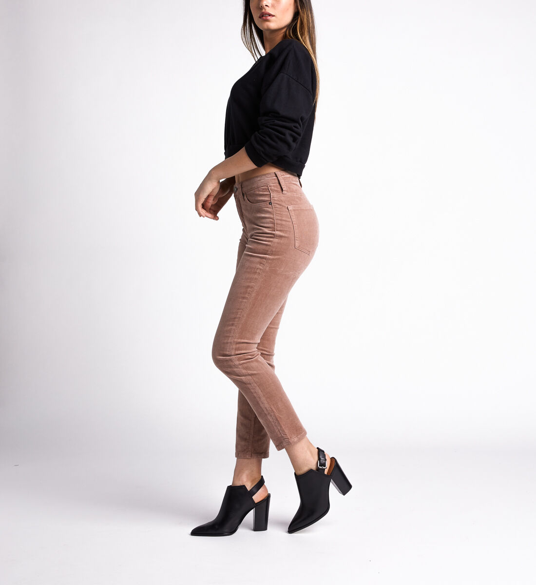 High Note High Rise Slim Leg Pants,Blush Side