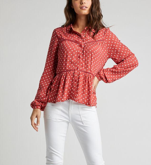 Sara Polka-Dot Babydoll Shirt