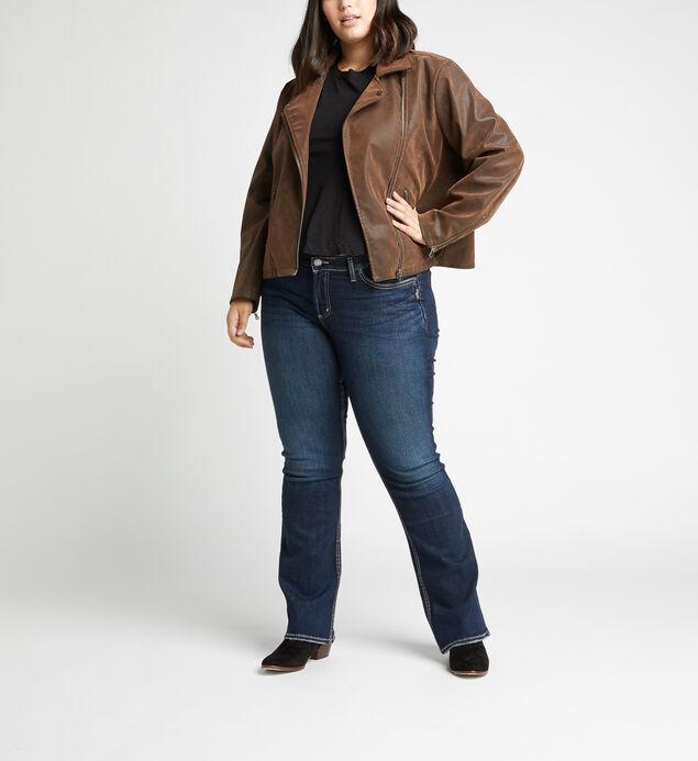 Sibley Faux-Suede Moto Jacket Plus Size, , hi-res