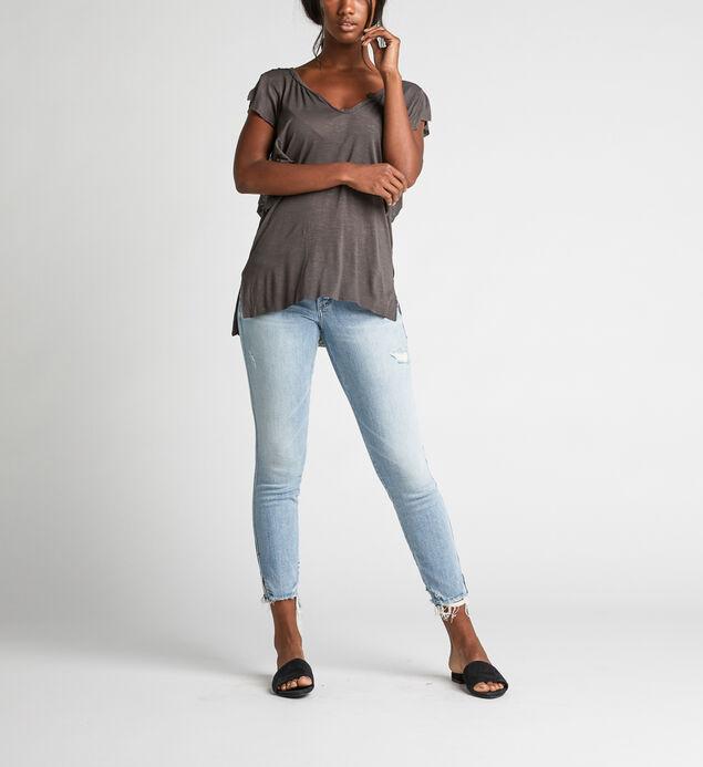 Athena Ruffle-Sleeve Tee, Black, hi-res