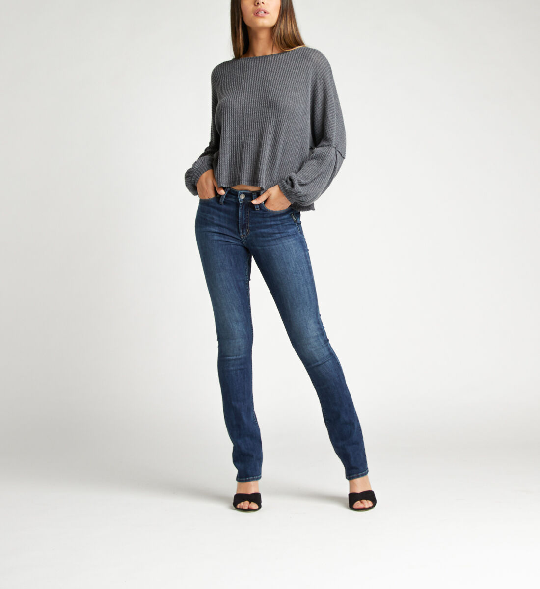 Most Wanted Mid Rise Skinny Bootcut Jeans Front