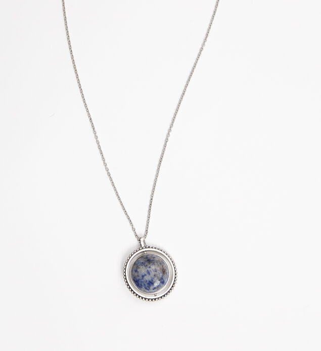 Silver-Tone Spinner Pendant Necklace, Blue, hi-res