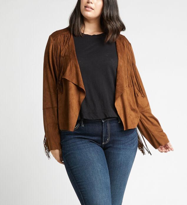 Soma Faux-Suede Fringe Jacket Plus Size