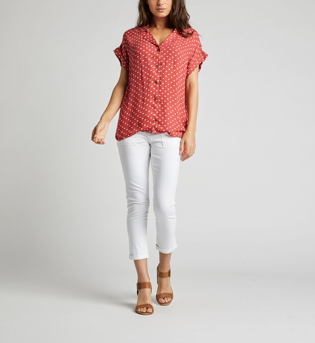 Alisha Rolled-Sleeve Polka Dot Shirt, Red, hi-res