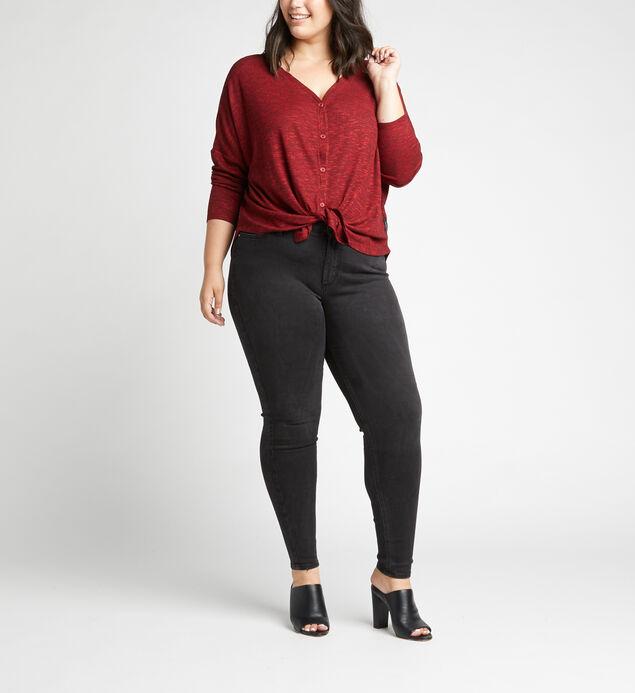 Amelia Button-Front Top Plus Size, Burgandy, hi-res