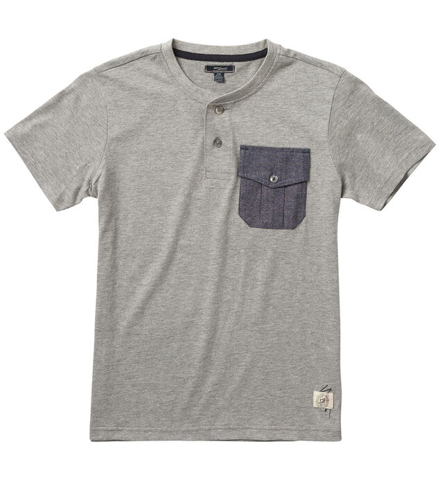 Short-Sleeve Heathered Henley (4-7)