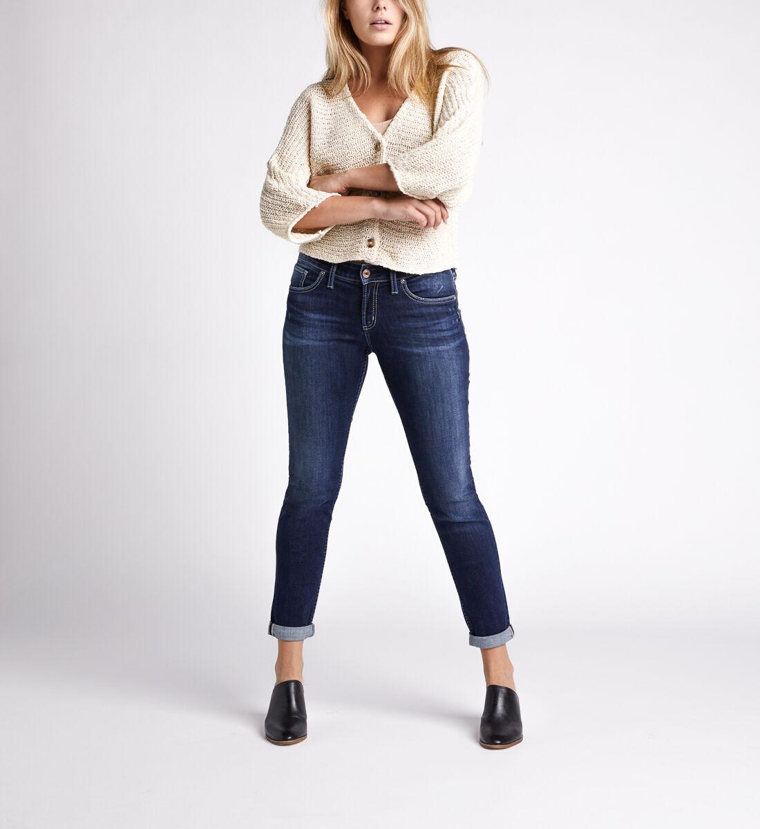 Boyfriend Mid Rise Slim Leg Jeans,Indigo Front