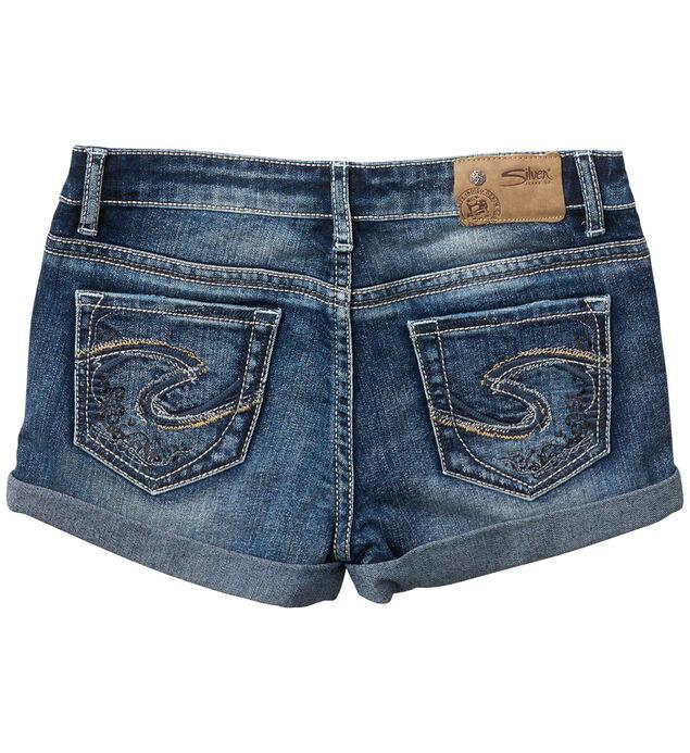 Lacy Cuffed Denim Shorts in Medium Wash (7-16), , hi-res
