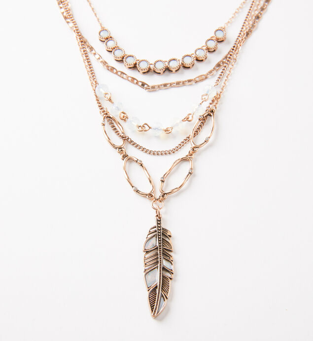 Gold-Tone Layered Feather Necklace, , hi-res