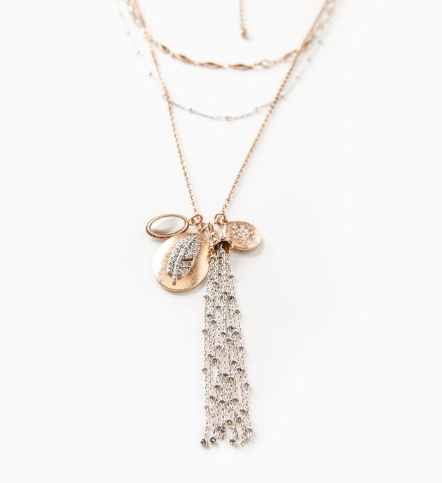Mixed-Metal Layered Tassel Necklace, , hi-res