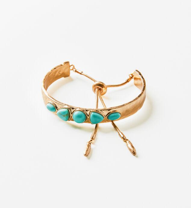 Gold-Tone Turquoise Bangle Bracelet, , hi-res