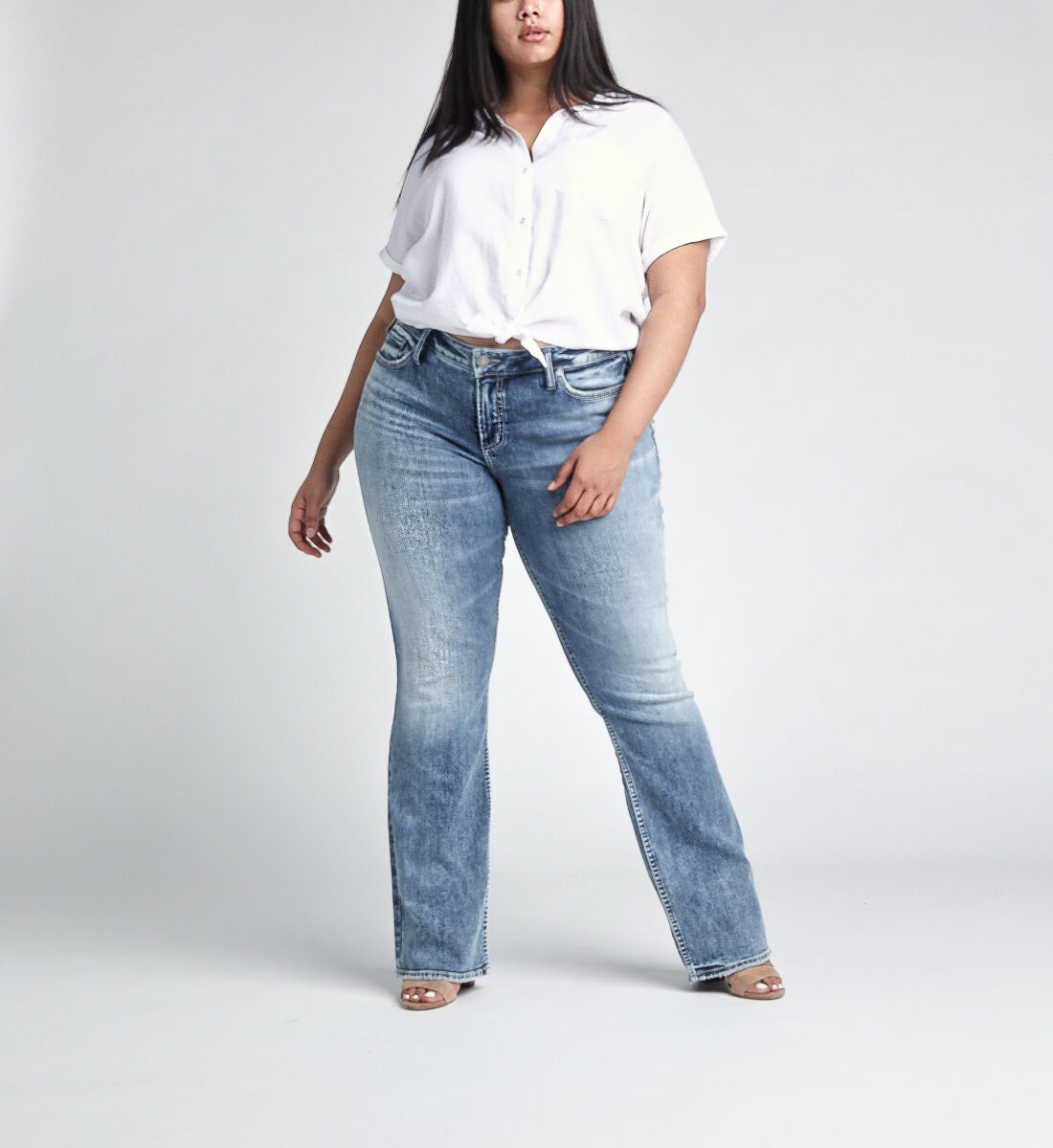 Elyse Mid Rise Slim Bootcut JeansPlus Size Front