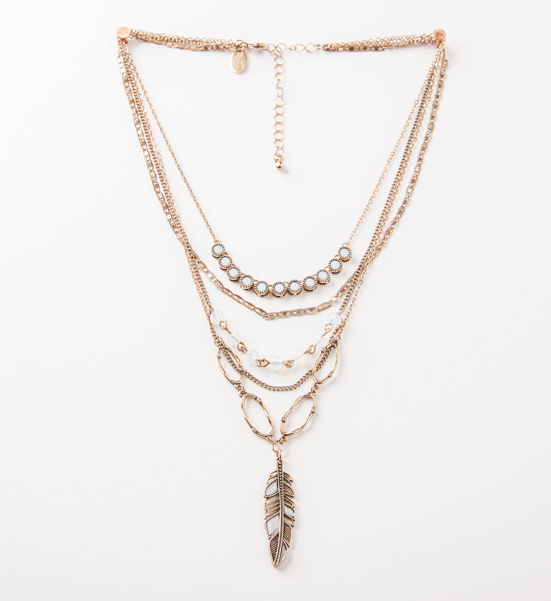 Silver Jeans Co Layered Feather Necklace xVLMsav