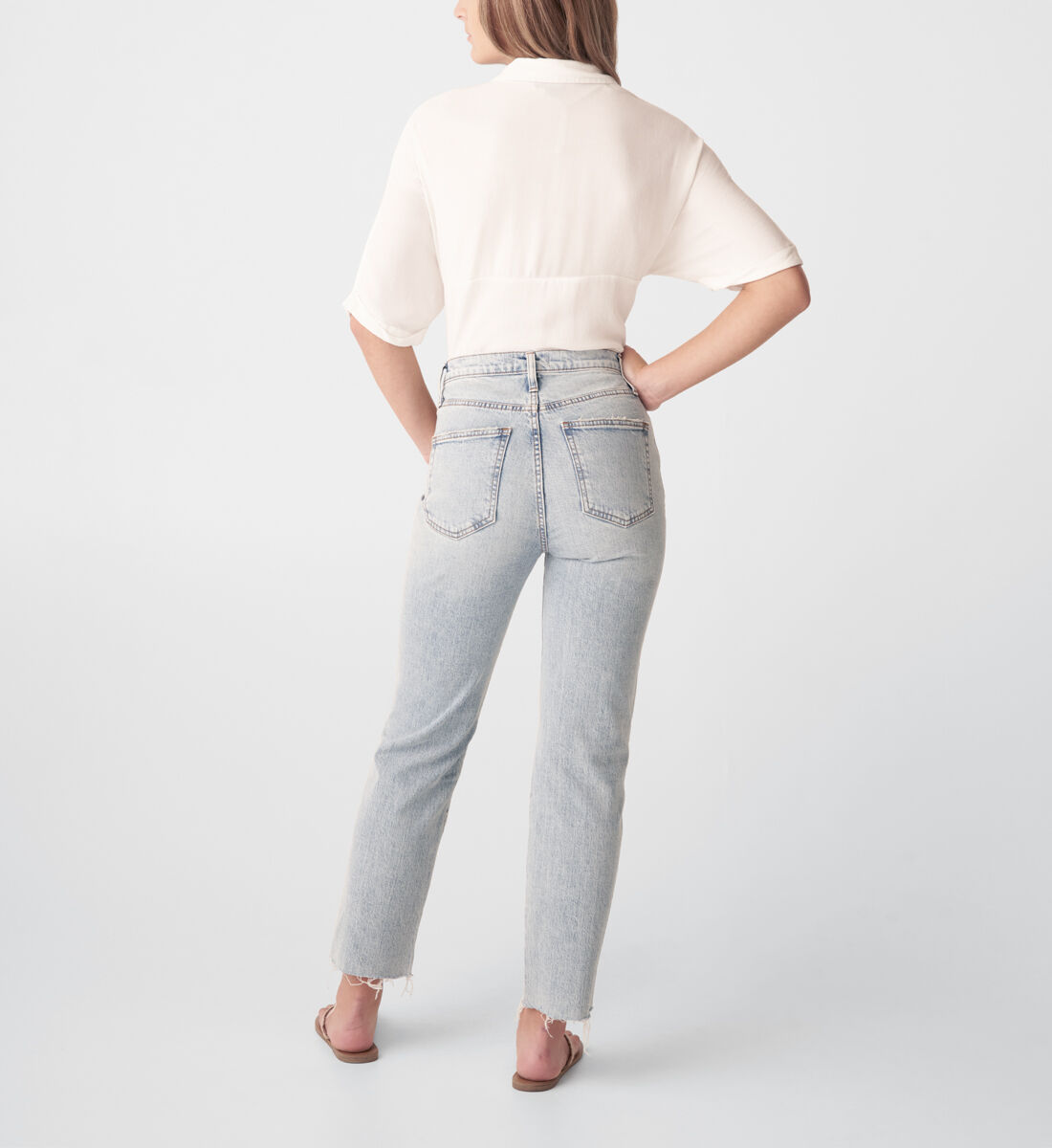 Highly Desirable High Rise Straight Leg Jeans Back