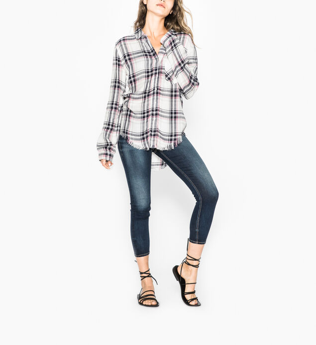 Stevie - Basic Plaid Shirt With Frayed Hem