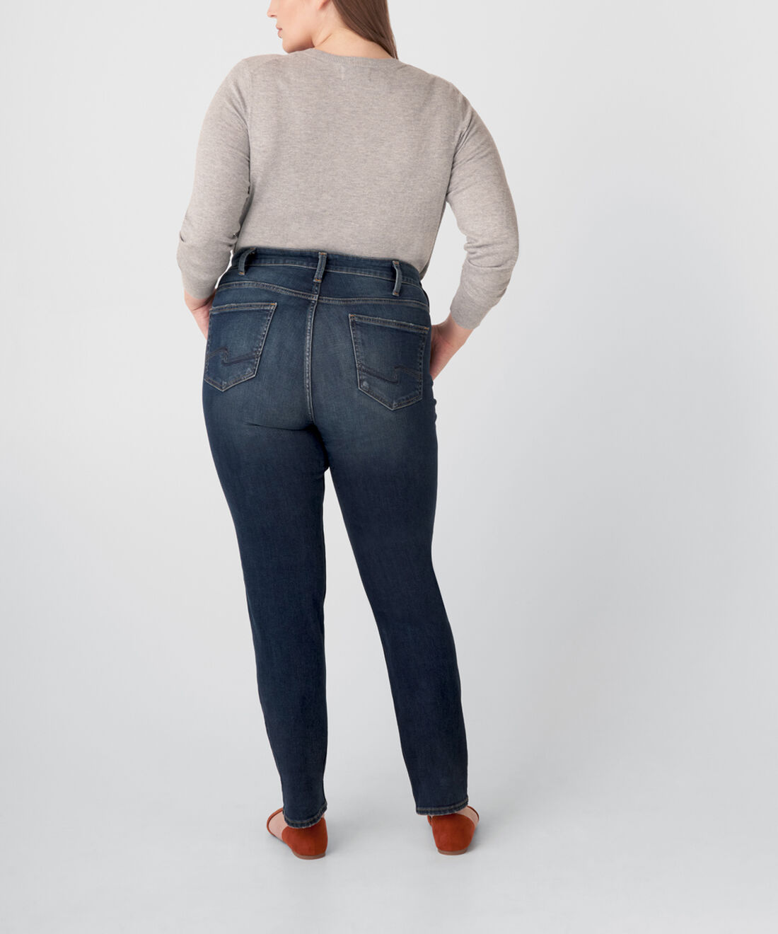 Avery High Rise Straight Leg Jeans Plus Size Back