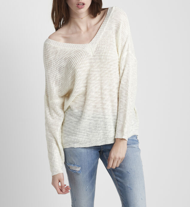 Slub Sweater With V Back