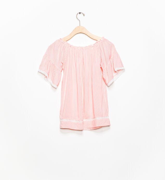 Short-Sleeve Tie-Neck Blouse (7-16), , hi-res