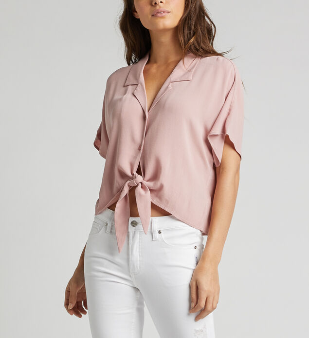 Sunny Cropped Dolman Tie-Waist Shirt