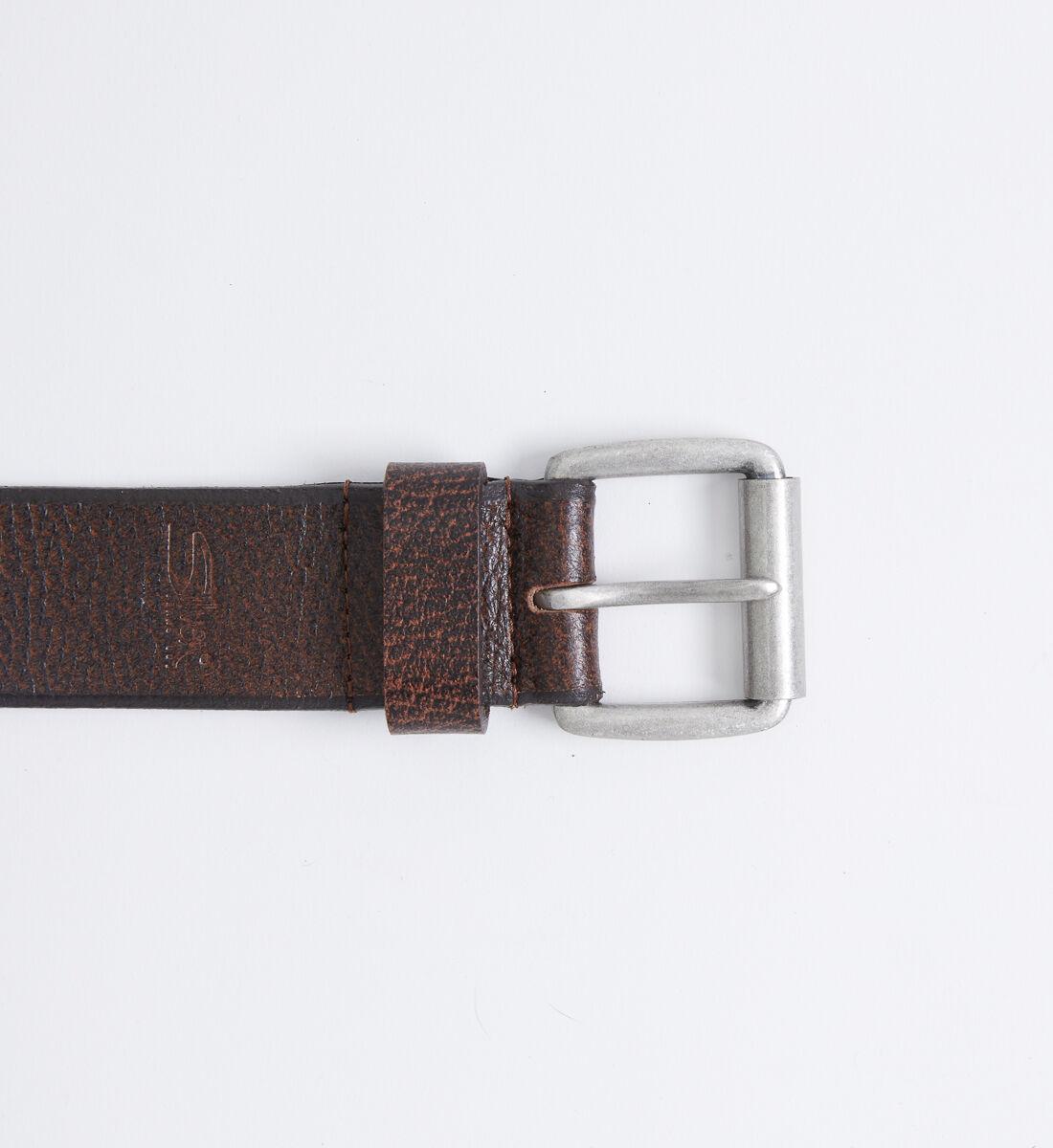 Pebbled Leather Mens Belt Front