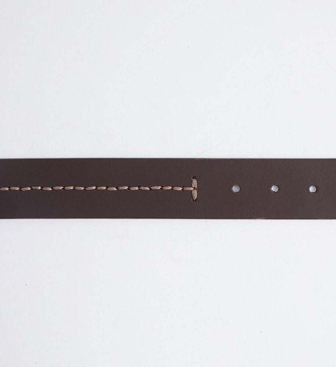 Contrast Stitch Leather Mens Belt Back