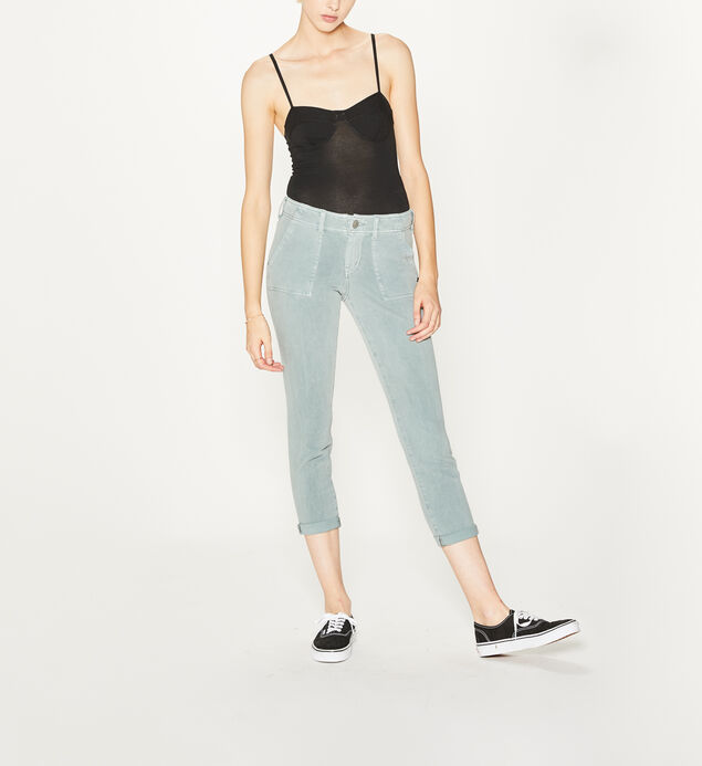 Utility Slim Crop Mid Rise Color Wash