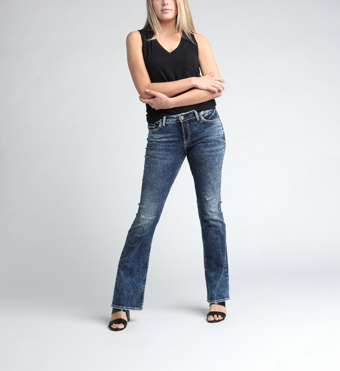 Elyse Mid Rise Bootcut Jeans Front