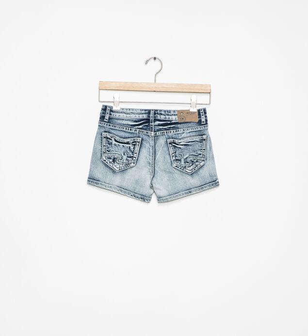Lacy Light-Wash Denim Shorts (7-16), , hi-res