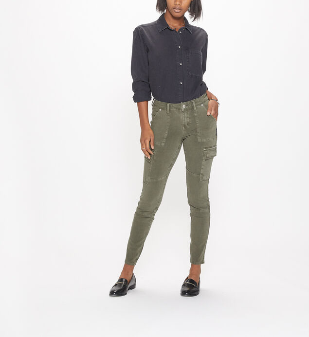 Skinny Cargo Mid Rise Color Wash