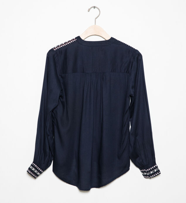 Long-Sleeve Embroidered Peasant Top (7-16), , hi-res