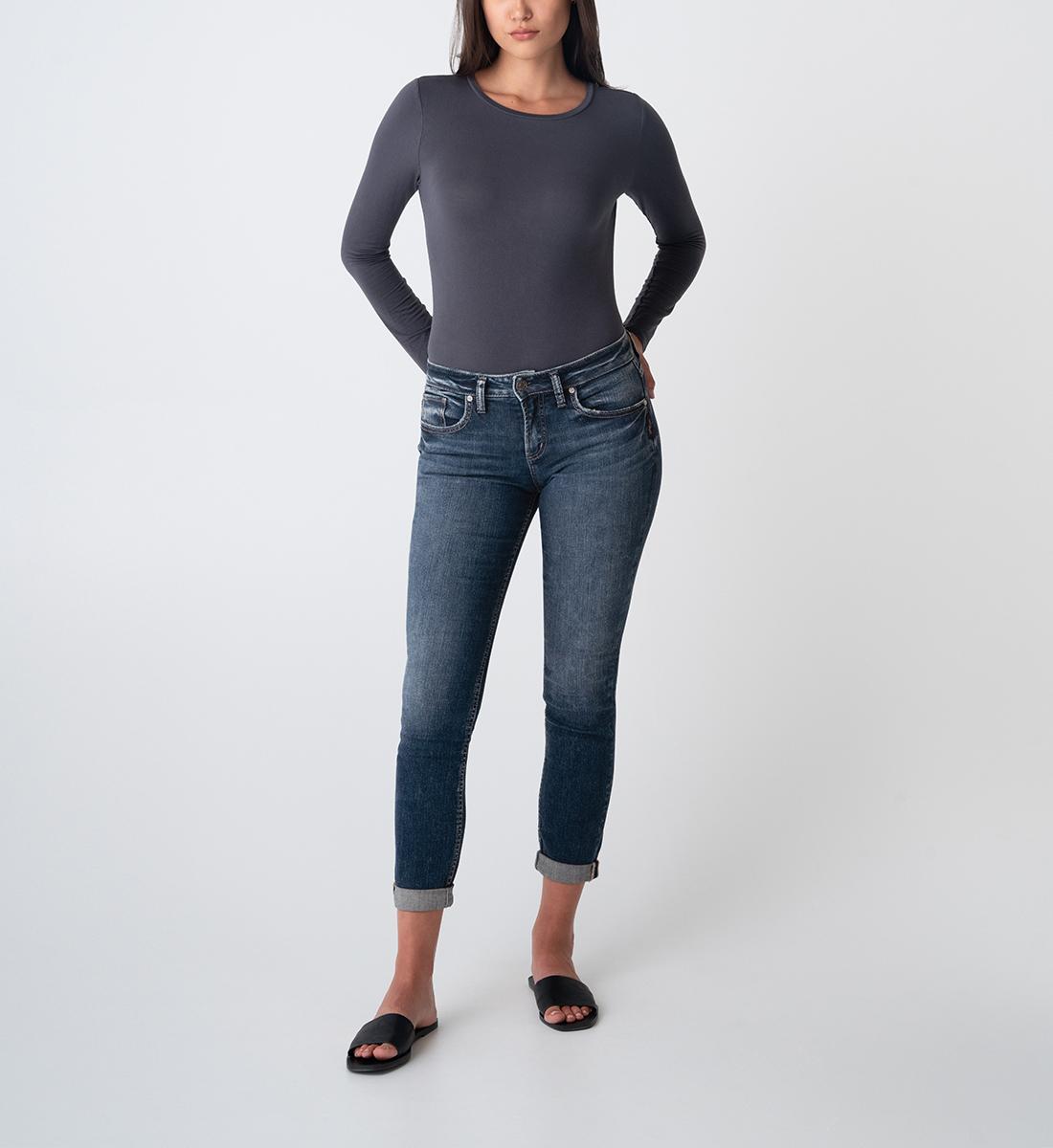 Boyfriend Mid Rise Slim Leg Jeans Front