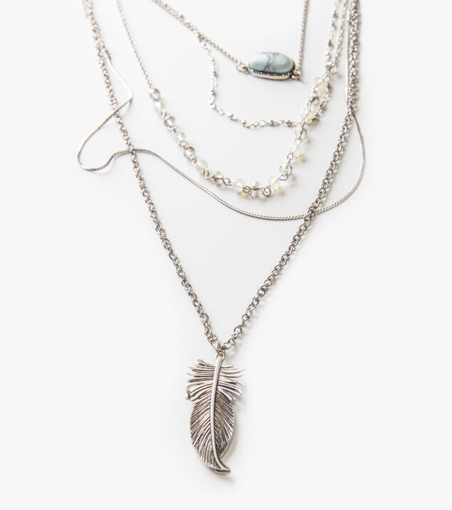 Silver-Tone Layered Feather Necklace, , hi-res
