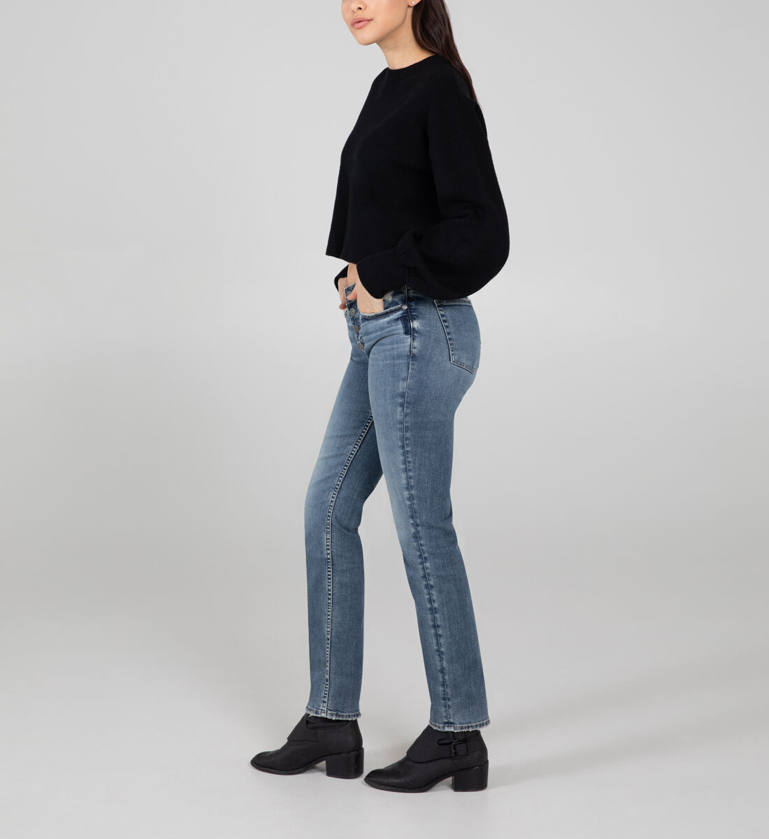 Most Wanted Mid Rise Straight Leg Jeans Side