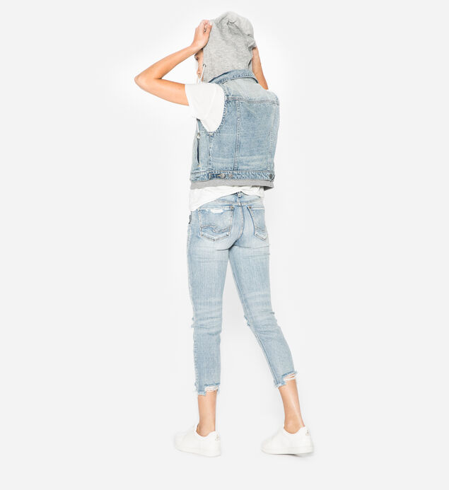Saylor - Cropped Denim Vest With Knit Hood, , hi-res