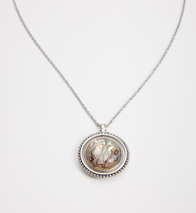 Silver-Tone Spinner Pendant Necklace, Silver, hi-res